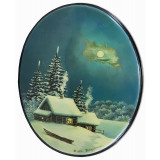 Lacquer Box Fedoskino Winter, oval vertical, Landscapes of Russia