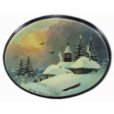 Lacquer Box Fedoskino Winter, oval horizontal, Landscapes of Russia