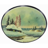 Lacquer Box Fedoskino Winter Landscape, horizontal, oval.
