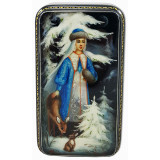 Lacquer Box Fedoskino The snow maiden with a deer