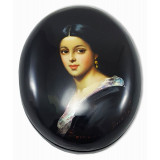 Lacquer Box Fedoskino Natalie Pushkina, wife of Alexander Pushkin