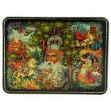 Lacquer Box Kholuy Ruslan and Ludmila, the head of a Bogatyr.
