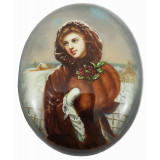 Lacquer Box Fedoskino Girl with a clutch