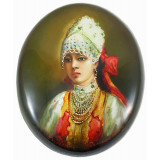 Lacquer Box Fedoskino Good woman with ribbon in hair.