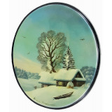 Lacquer Box Fedoskino Winter landscape, oval vertical.