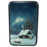 Lacquer Box Fedoskino Winter, vertical rectangular billet
