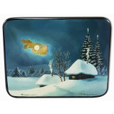 Lacquer Box Fedoskino Winter landscape, rectangular horizontal billet