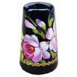Thimble Zhostovo style, black background, flowers