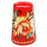 Thimble Zhostovo style, red background