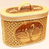 birch bark products Swan bread box, 30*17*20