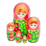 Nesting doll 5 pcs. red, flowers with strawberries
