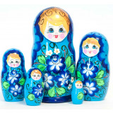 Nesting doll 5 pcs. red, flowers in assortment