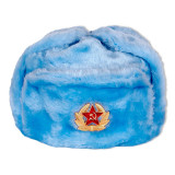 Headdress fur hat Soldier's artificial blue fur
