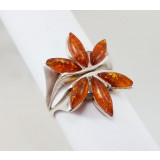 Amber ring Red flower