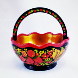 Khokhloma gift The candy bowl with handle, 16 h 14 h 9