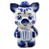New Year and Christmas pig with accordion (figure) , symbol of 2019