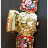 Watches Chaika, women's, enamel with lid, red