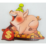 Magnet wooden pig and gold bars