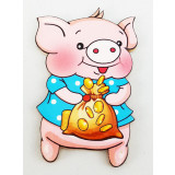 Magnet wooden pig with a bag of money, the symbol of 2019!