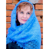 Pavlovo Posad Shawl Downy shawl handmade shawl light blue, 130 h 130