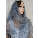 Pavlovo Posad Shawl Downy shawl handmade gossamer, light grey, 1.30