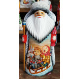 New Year and Christmas carved wooden toy Santa Claus, miniature...
