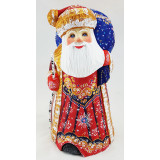 New Year and Christmas carved wooden toy Santa Claus with big blue...