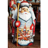 New Year and Christmas carved wooden toy Santa Claus bellied,...