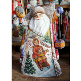 New Year and Christmas carved wooden toy Santa Claus with a...