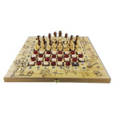 Chess set Knights, set of three in one: chess, checkers, backgammon