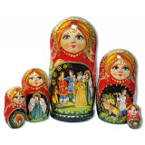 Nesting doll 5 pcs. Humpbacked horse, kirge.