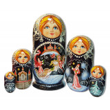 Nesting doll 5 pcs. inmaa triple, silver, Kirzhach.