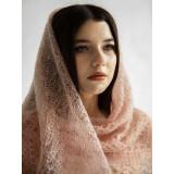 Pavlovo Posad Shawl Downy shawl handmade cobweb down beige, 120 x 120
