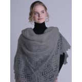 Pavlovo Posad Shawl Downy shawl handmade shawl, light gray, 1.30