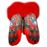 Clothing mittens for women, red, Pavlovsky Posad style