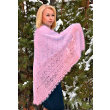 Pavlovo Posad Shawl Downy shawl handmade puffer, light pink...