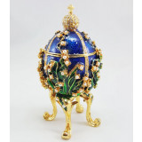 Copy Of Faberge 1979-003 egg jewelry box, blue