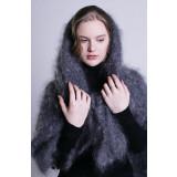 Pavlovo Posad Shawl Downy shawl handmade kerchief gray dense,...