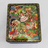 Lacquer Box with elements of hand painting Alice in Wonderland, 11 x 9