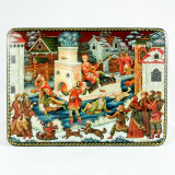Lacquer Box with elements of hand painting Emelya on the stove, 15...