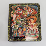 Lacquer Box with elements of hand painting Cinderella, 10 x 8