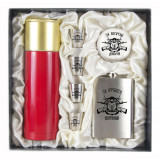 Gift engraved Gifts for men Flask sets, stack with thermos 11661
