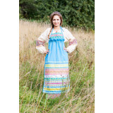 Russian folk costume APRONS light blue, 115 cm