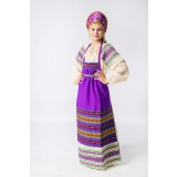 Russian folk costume APRONS purple, 115 cm