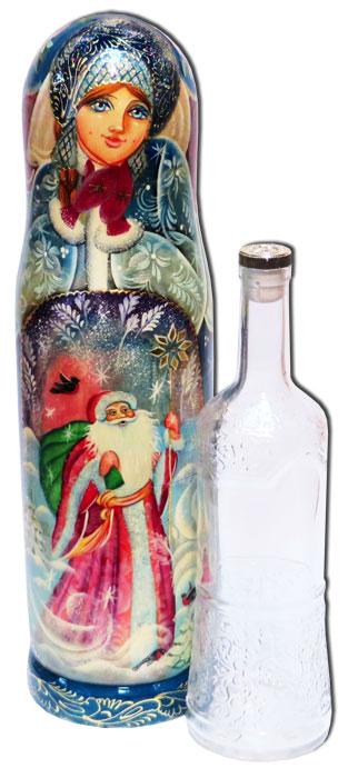 Nesting doll Case for bottle New year's 0.7 l