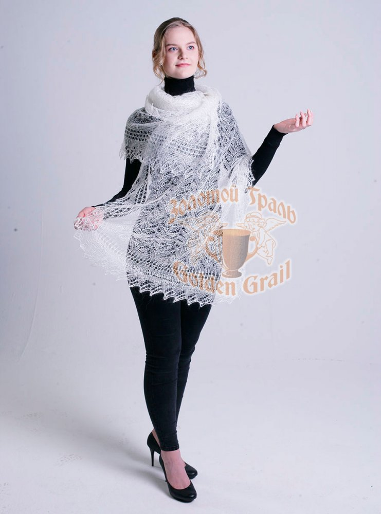 Pavlovo Posad Shawl Downy shawl handmade shawl white 200 h 60