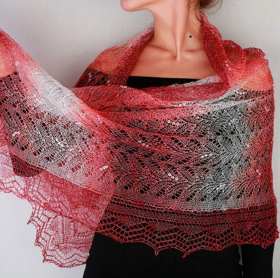 Pavlovo Posad Shawl Downy shawl handmade stole downy openwork, (cherry white), 200 x 60