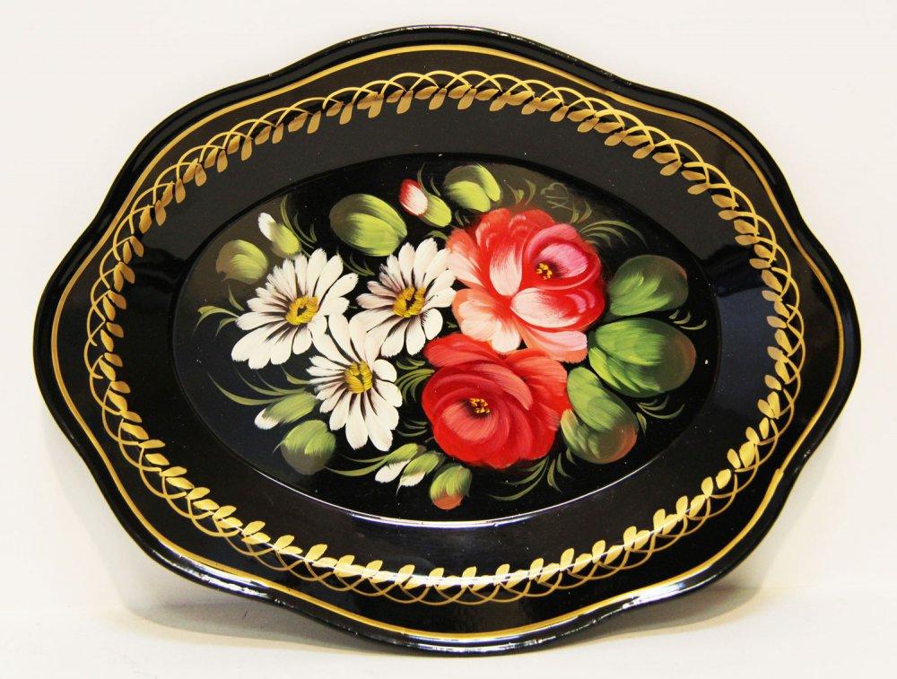 Zhostovo tray small black 22x17