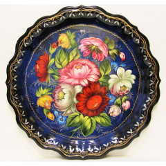 Zhostovo tray The round, blue d- 37