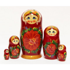 Nesting doll Sergiev-Posad 5 pcs. Flowers big.